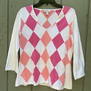 Lilly Pulitzer V-Neck Argyle Sweater Pink White